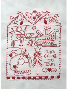 d98619b7f3b9f3 He s Coming to Town. - Red Brolly Broderie Point De Croix, Dessins, Points