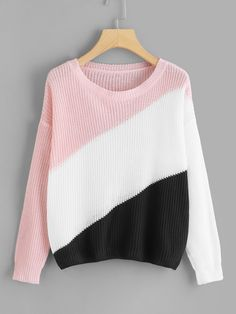 SheIn offers Color Block Drop Shoulder Jumper & more to fit your fashionable needs. Winter Mode Outfits, Winter Fashion Outfits, Sweater Fashion, Cute Fashion, Simple Outfits For Teens, Girls Sweaters, Sweaters For Women, Mode Für Teenies, Color Blocking Outfits