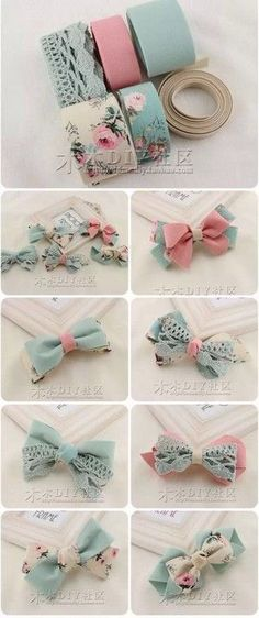 "Delicadeza de laços ""Discover thousands of images about cute DIY bow tutorial"", ""This post was discovered by Tra"", ""Do it yourself also known as DIY Diy Ribbon, Ribbon Crafts, Ribbon Bows, Ribbons, Ribbon Art, Diy Hair Bows, Bow Hair Clips, Felt Hair Bows, Baby Girl Hair Clips"
