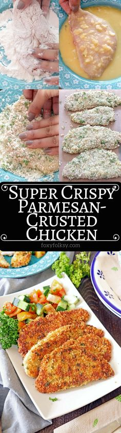 Try this deliciously crispy outside and juicy inside, Parmesan Crusted Chicken Recipe. Yet another tasty, quick and easy recipe to enjoy! Pinapple Chicken Recipes, Jalepeno Chicken Recipes, Balsamic Chicken Recipes, Breaded Chicken Recipes, Chicken Drumstick Recipes, Low Carb Chicken Recipes, Cooking Recipes, Roasted Chicken, Baked Parmesan Crusted Chicken