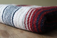Vintage Mexican Blanket Stripes Striped Navy by QUIVERreclaimed