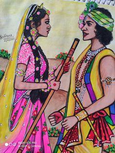 Hard Drawings, Realistic Drawings, Art Drawings Sketches, Colorful Drawings, Krishna Drawing, Krishna Painting, Radha Krishna Pictures, Krishna Radha, Rangoli Designs Diwali