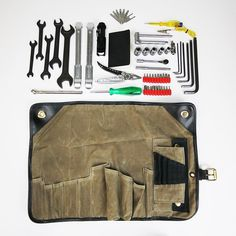 The Union Garage Deluxe Tool Roll is a comprehensive motorcycle maintenance kit designed to handle emergency repairs on the road and regular service in the shop. The roll itself is built from durable 10.10-ounce waxed cotton and reinforced with leather. And the 50-piece premium tool complement has been carefully chosen and painstakingly sourced to help keep your steed running strong, yet still pack down small enough to comfortably carry on a motorcycle.