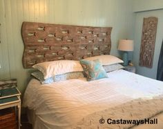 Wood School of Fish Art Headboard King Size Sign Driftwood Colours Beach Lake House Wall Decor by CastawaysHall