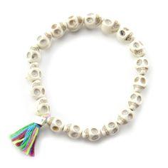 Chan Luu - White Magnesite Skull Stretch Bracelet, (http://www.chanluu.com/white-magnesite-skull-stretch-bracelet/)
