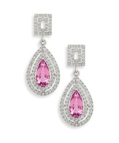 Mastercrafted in 18ct white gold (750) set with diamonds and pear shaped kunzites. Jenna Clifford