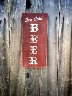 Rustic Ice Cold Beer wood Sign by LuckyArmadillo on Etsy, $9.99