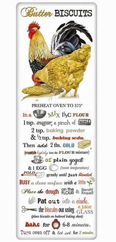 Southern Butter Biscuits Recipe 100% Cotton Flour Sack Dish Towel Tea Towel