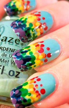 цветной горошек дизайн ногтей