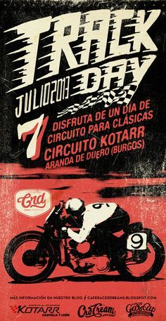 Track Day, poster for crd Alex Ramon Mas Design Bike Poster, Motorcycle Posters, Poster Ads, Motorcycle Art, Motorcycle Design, Bike Art, Bd Pop Art, Cool Posters, Illustrations Posters