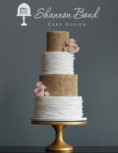 Gold Pearl and Ruffles Wedding Cake - Cake by Shannon Bond Cake Design