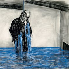 William Kentridge, drawing from 'Stereoscope', 1998 - 1999, charcoal & pastel on paper