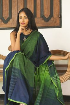 Combination in deep blue & a range of greens to reflect the many sea weeds in movement under water, this cotton saree is an ideal attire for any evening function with your own choice of Silver or Bronze of jewellary Simple Sarees, Trendy Sarees, Stylish Sarees, Cotton Saree Blouse, Khadi Saree, Ethnic Sarees, Indian Sarees, Indian Outfits, Indian Attire