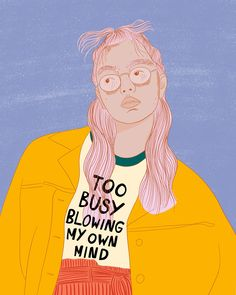 Too busy blowing my own mind Art Print by Little by Lupin - X-Small Drawing Sketches, Art Drawings, Web Design, Design Trends, Feminist Art, Poster S, Illustrations, Digital Illustration, Art Inspo