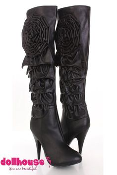 deaabbd8216 Black Faux Leather Large Floral Ruffled Tier Boots   Sexy Clubwear