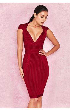 6adadf6b7457 Clothing : Bandage Dresses : 'Sophia' Wine Red Ribbed Cupped Bandage Dress  Bandage Dresses
