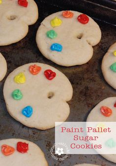 Paint Pallet Sugar Cookies Tutorial -- Perfect for an Art-Themed Party {OneCreativeMommy.com} #artparty
