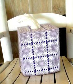 Lavender Plaid Tissue Box Cover