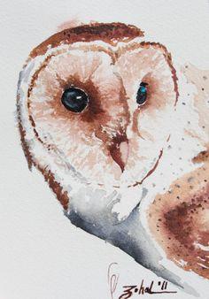 Watercolor Owl- original painting
