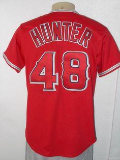 6dfdea2174f MAJESTIC SEWN TORII HUNTER  48 ANAHEIM ANGELS RED MLB BASEBALL JERSEY MEN  MEDIUM