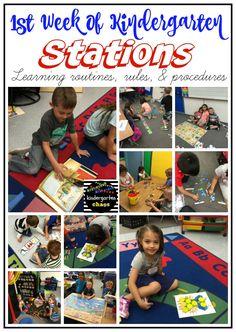 First Week of Kindergarten Activities, Books, and Ideas Kindergarten First Week, Kindergarten Schedule, Kindergarten Classroom Management, Kindergarten Lesson Plans, Kindergarten Centers, Kindergarten Activities, Classroom Ideas, Kindergarten Names, Reggio Classroom