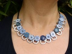 Soda Tab Blues Button Necklace