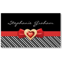 Black white striped pattern with red bow and jewel business card templates