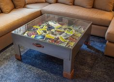 The client's collection of Playbills are displayed in the great room's custom-designed coffee table