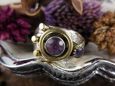 Amethyst Gemstone Sterling & Brass Ring - Size 7