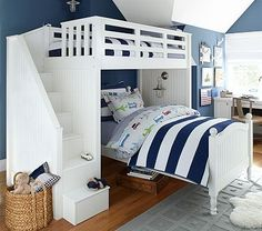 LOVE this...... this one shows the fisherman lighting that I like....Catalina Stair Loft Bed #pbkids