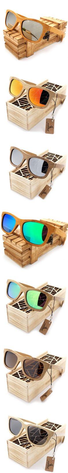 2016 Vintage Handmade Bamboo Wooden Polarized Coating Lenses Sunglasses in  Wood Box 34e58eba8dea