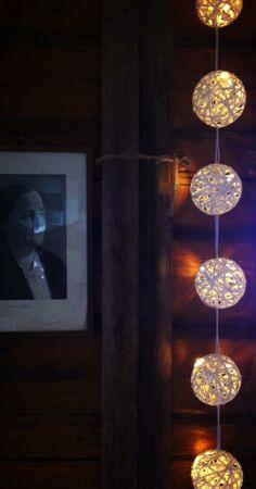 Butik Malfatto, paperinarusta valmistettu valosarja, led-valoilla.