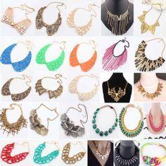 Fashion Women Mixed Colors Bubble Bib Choker Statement Charms Necklace 54Styles