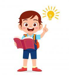 Happy cute little kid boy with light idea , Kids Background, Cartoon Background, Kids Cartoon Characters, Cartoon Kids, Art Drawings For Kids, Art For Kids, Kids Study, Looney Tunes Cartoons, Kids Vector