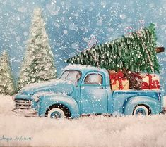 Image may contain: sky, tree, outdoor and nature Christmas Red Truck, Merry Christmas, Christmas Canvas, Christmas Paintings, Blue Christmas, Christmas Things, Christmas Time, Christmas Crafts, Vintage Clipart