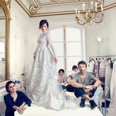 See Sophie Hunter (a.k.a Mrs Benedict Cumberbatch) in her Valentino bridal gown: Hunter in fittings with Valentino's creative directors.