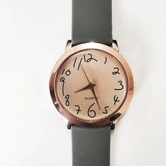 Taylor's Messy Numbers, Vintage Style Leather Watch, Women Watches, Boyfriend Watch, Men's Watch , Handwriting Fonts, Rose Gold,Smoked Glass
