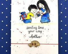 ParusPerceptions on Etsy handmaderakhicards,woodenrakhi,impressionobsessionstamps,squarecards,handmadecards,craftanglesstamps,kidsrakhi Raksha Bandhan Cards, Raksha Bandhan Images, Diy Cards, Handmade Cards, Rakhi Greetings, Raksha Bandhan Greetings, Rakhi Cards, Marker Drawings, Rakhi Making