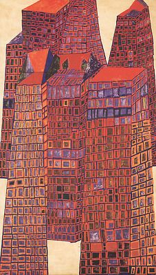 Friedensreich Hundertwasser - Bleeding Houses - 1952 - mixed media :egg tempera on hard fibreboard, primed with chalk, zinc white and fish glue, 104 x Monuments, Illustrations, Illustration Art, Friedensreich Hundertwasser, Building Art, Colorful Paintings, Art Paintings, Naive Art, Outsider Art