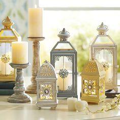 Medium Jeweled Lantern - White | Pier 1 Imports
