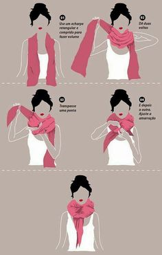 Tying a pashmina scarf (can be worn as a shawl as well! Ways To Wear A Scarf, How To Wear Scarves, Tie Scarves, Neck Scarves, Diy Fashion, Ideias Fashion, Autumn Fashion, 1950s Fashion, Vintage Fashion