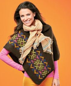 Fair Isle poncho - free knitting pattern download from Let's Knit!