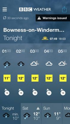 BBC Weather forecast for Bowness-on-Windermere, Cumbria. Tonight: Light Rain. Min 10°C. https://www.bbc.co.uk/weather/2655049