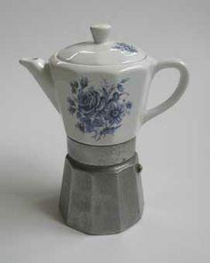 Italian Ceramic/Metal Coffee Pot from Chapel St Bazaar, Victoria, Australia