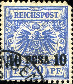 German East Africa 1893 10p on 20pf [Mi 4, Sc 4]  16.5 mm-wide surcharge