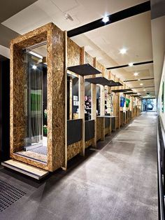 OSB used to create pods for retail design #retaildesign