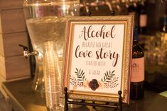 """""""Alcohol because no great love story started with a salad."""" This hilarious and adorable sign was part of the decor for Chris and Chantal's wedding at Park Tavern in Atlanta, Georgia. Guests at this wedding loved having an open bar! Great Love Stories, Love Story, Park Tavern, Piedmont Park, Atlanta Georgia, Special Events, Wedding Decorations, Hilarious, Alcohol"""