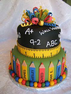 Farewell to Grade Cake School Cake Fancy Cakes, Cute Cakes, Yummy Cakes, Fondant Cakes, Cupcake Cakes, Rodjendanske Torte, Teacher Cakes, Birthday Cake For Teacher, Cakes For Teachers