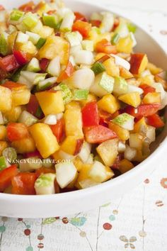 Celebrate summer with a delicious and hydrating peach cucumber salsa. Finish the day with @simpleskincare Micellar Cleansing Water to show your skin even more hydrating love.
