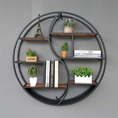 Best Seller Lil Round Wall-Mounted Shelves Wall Mount Retro Four-Tier Iron Shelf Floating Unit Frame Wall Decorative Shelves (Color : Black, Size : on-line - Topofferideas - Decoration Tips Wall Bookshelves, Wall Mounted Shelves, Metal Storage Shelves, Wall Shelf Unit, Wall Shelf Decor, Solid Wood Shelves, Iron Shelf, Iron Furniture